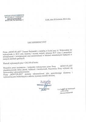 Referencja z tytułu remontów w mieszkaniach komunalnych.